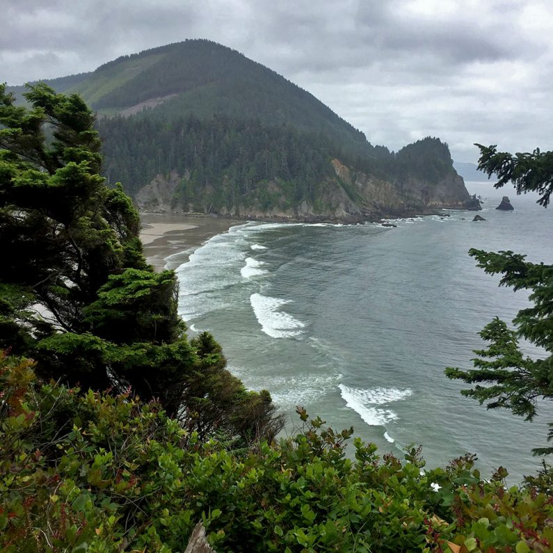 View of Short Sands Beach, Oswald West State Park, Neahkahnie Mountain to Cape Falcon Hike