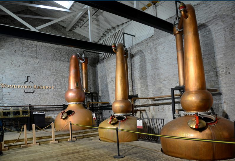 the iconic copper pots of Woodford Reserve Bourbon in Woodford County Kentucky