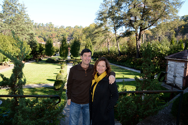Heather Sunseri and Mike Sunseri in the sunken garden of Castle and Key in Kentucky