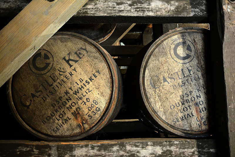 Castle and Key bourbon barrels, bourbon trail in Kentucky