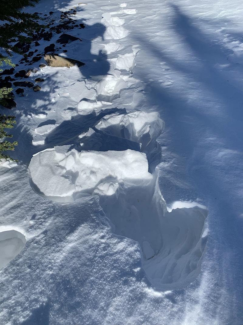deep snow drift on Olallie Butte